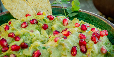 Guacamole and pomegranate